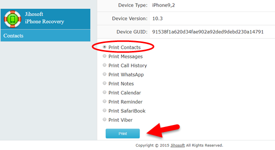 Comment imprimer les contacts de l'iPhone / iPad directement