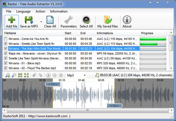 Kastor Free Audio Extractor, 5 meilleur convertisseur de vidéo en MP3.