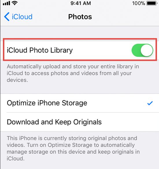 Désactiver la photothèque iCloud