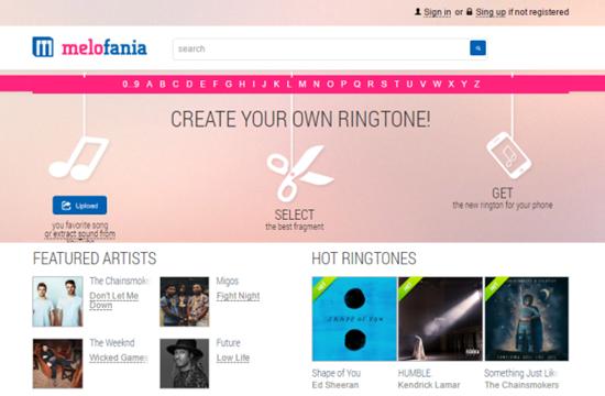 Melofania, Liste des 5 meilleurs sites de téléchargement de sonnerie pour iPhone.