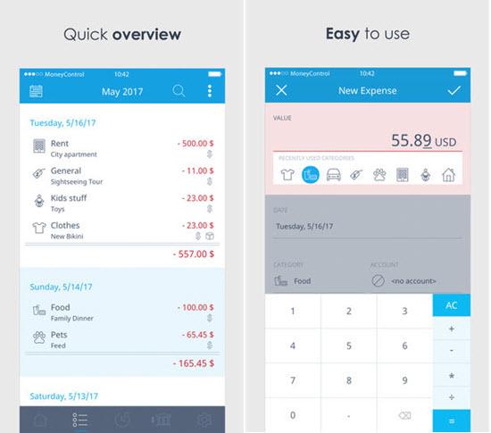 Money Control, Mejores aplicaciones de organizar presupuestos para iPhone / iPad.