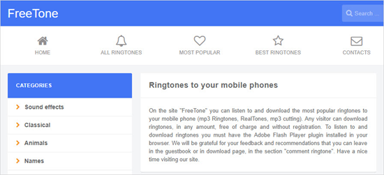 Freetone.org, Liste der Top 5 iPhone Klingelton Download Webseiten.