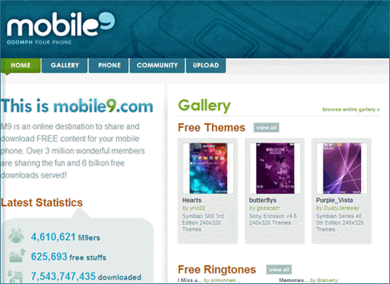 Mobile9.com, Liste der Top 5 iPhone Klingelton Download Webseiten.