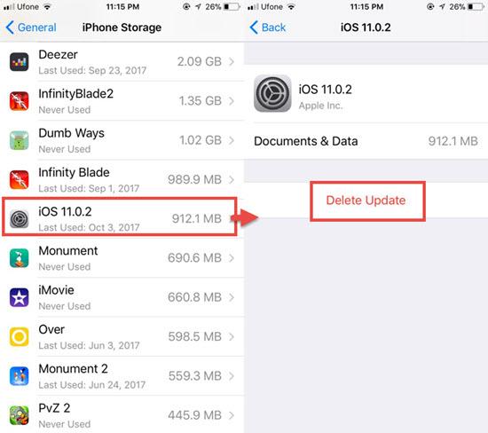 Étapes pour supprimer la mise à jour iOS téléchargée sur iPhone / iPad