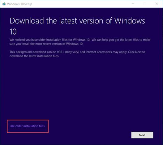Manuelle Herabstufung auf eine frühere Version von Windows 10