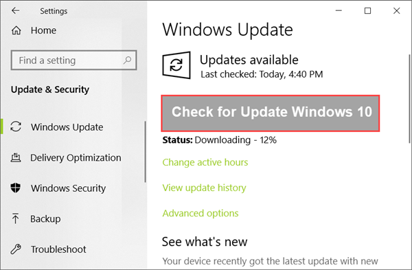 Check for Windows 10 Auto Update on Settings