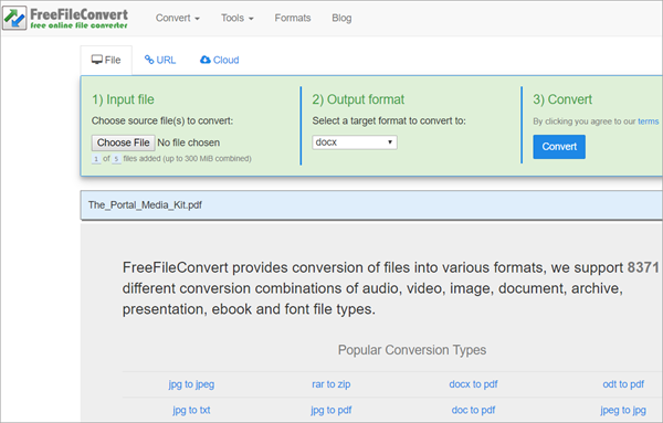 Free File Convert – Best Free Online PDF to Word Converter