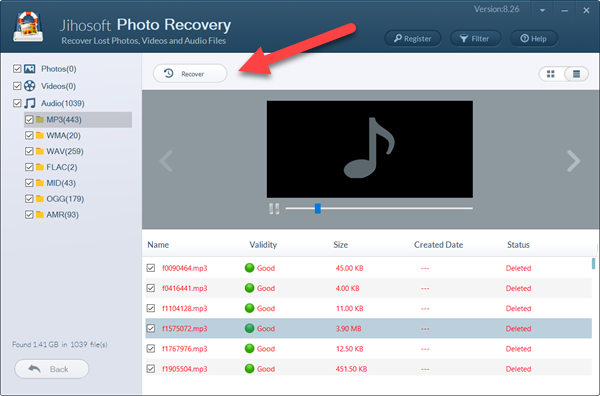 Preview and Recover found audio.