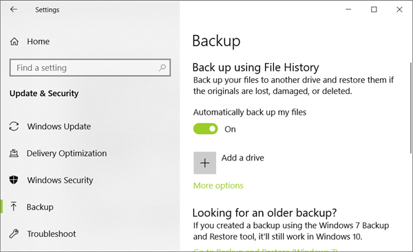 Restore from File History after Reinstalling System Windows 10