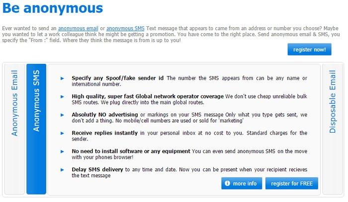 Sharpmail, Top 7 Seiten, um anonyme Textnachrichten zu versenden.