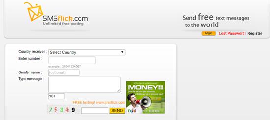 SMSflick, Top 7 sitios para enviar mensajes de texto anónimos.