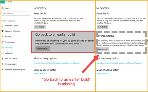 Windows 10 geht zurück zu einer früheren Ausgabe, die nach 10 Tagen fehlt.