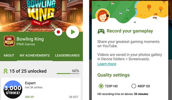 Google Play Games, Aplicaciones de grabación de pantalla para Android.