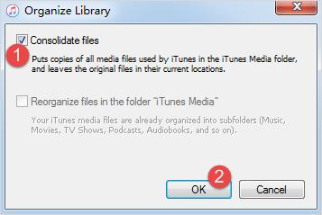 Konsolidieren Sie Ihre iTunes Mediathek.
