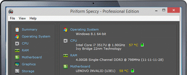 Speccy is one of the top best Free Benchmark Software for Windows.