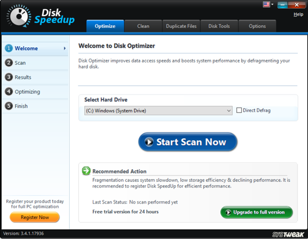 SYSTWEAK Disk Speedup is one of the bop best Disk Defragmenter Software for Windows.