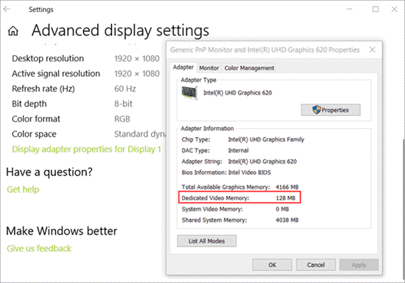 How to Check VRAM Allocation in Windows 10