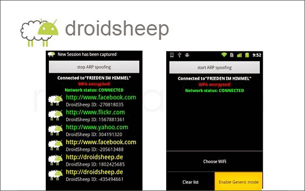Using Droidsheep to hack Android phone without Root.