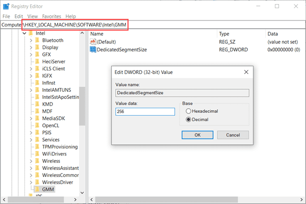 Increase Dedicated VRAM in Registry Editor