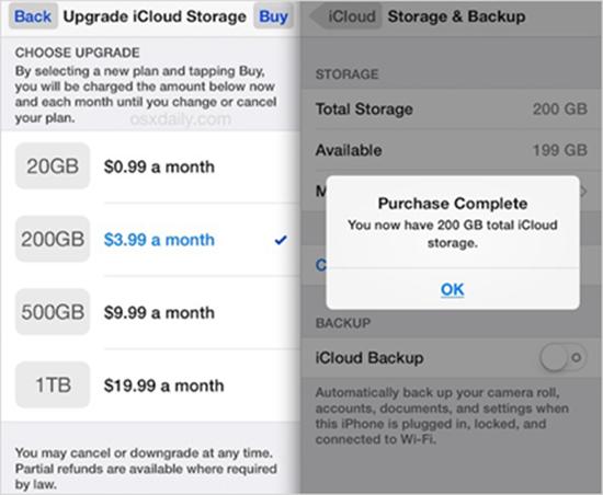 Mettre à niveau le stockage iCloud