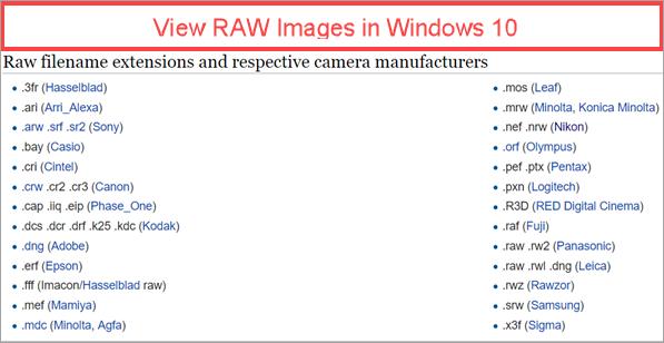 Comment afficher des images et des vignettes RAW sous Windows 10?