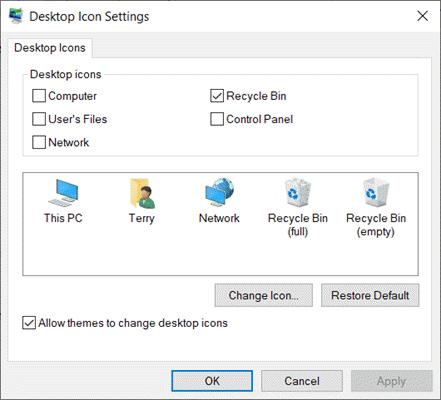 Fix Desktop Icons Missing in Windows 10 Settings