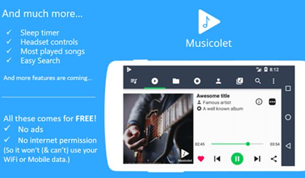 Musicolet, Mejores reproductores de audio para Android.