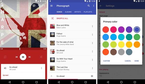 Phonograph, Meilleurs lecteurs audio pour Android.