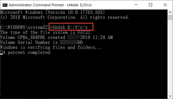 Recover Corrupted SD Card with Chkdsk Command