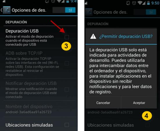 Pasos para habilitar la depuración USB en Android 4.0 – 4.1