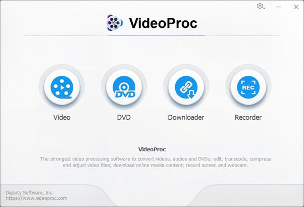 VideoProc verfügt über 4 Hauptfunktionen: Videoeditor, DVD-Konvertierung und -Backup, Video-Downloader und Bildschirmaufnahme.