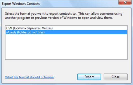 Convert CSV to VCF in Windows 7 with System Utility