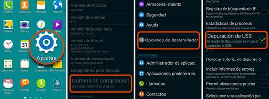 Pasos para habilitar la depuración USB en Android 4.4 y superior
