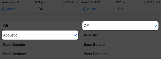 Desactivar la EQ de la app de Música