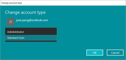 Cambiar el tipo de cuenta de usuario de Windows 10 como administrador o estándar