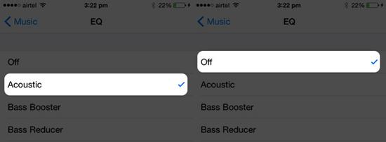 Désactiver l'égaliseur de l'application musicale