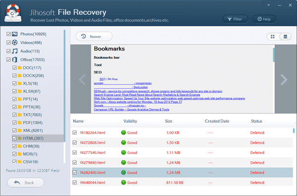 Preview and Recover Chrome history files.