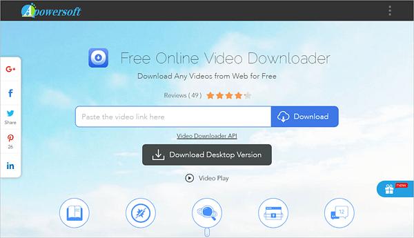 ApowerSoft Online Video Downloader offre à la fois un service de téléchargement en ligne et une application