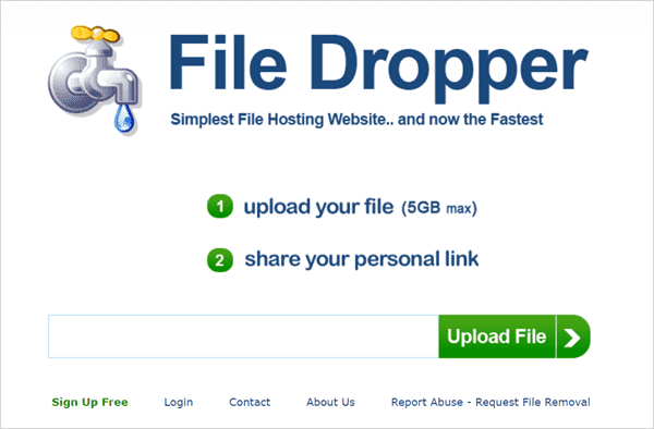 File Dropper is another free file sharing site for downloading big files up to 5GB.