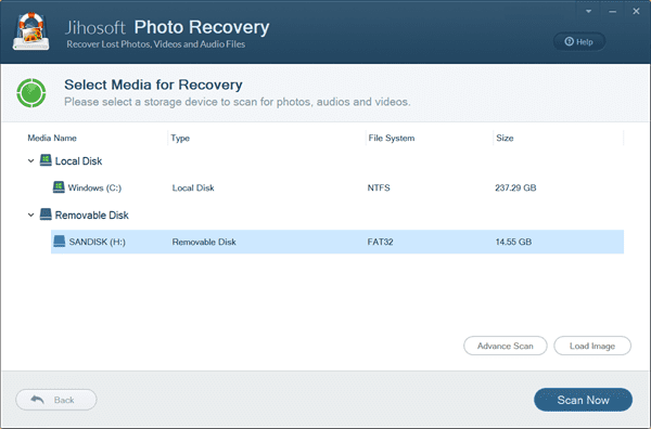 Select Panasonic Memory Card and Scan for Lost Photos