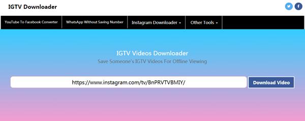 ThumbTube no es una aplicación de escritorio ni una aplicación móvil, es un sitio en línea para ayudarlo a descargar videos IGTV.