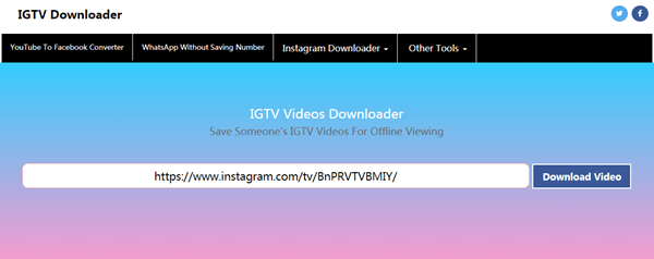 ThumbTube n'est ni une application de bureau ni une application mobile, c'est un site en ligne pour vous aider à télécharger des vidéos IGTV.