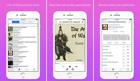 LibriVox tiene otra aplicación de audiolibros para iPhone dedicada a los oyentes de audiolibros en inglés.