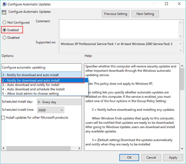 Arrêter la mise à jour de Windows 10 avec l'éditeur Group Policy