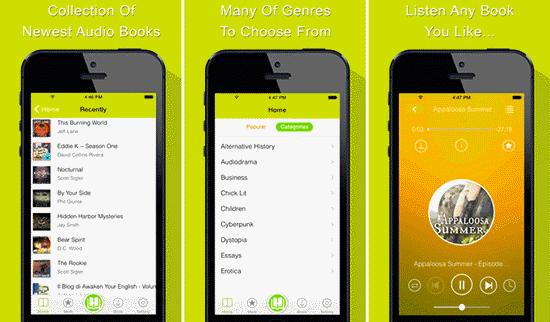 Diese App ist ein weiterer kostenloser Hörbuch-Streaming-Service für iOS-Geräte mit über 7000 Hörbüchern.