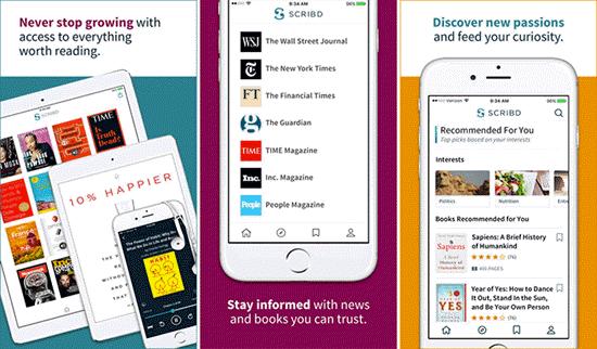 Scribd es una plataforma única donde descargar audiosbook para iPhone.