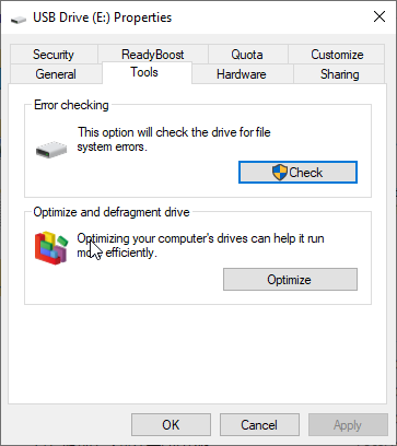 Repair USB Flash Drive with Windows Utility without Formatting