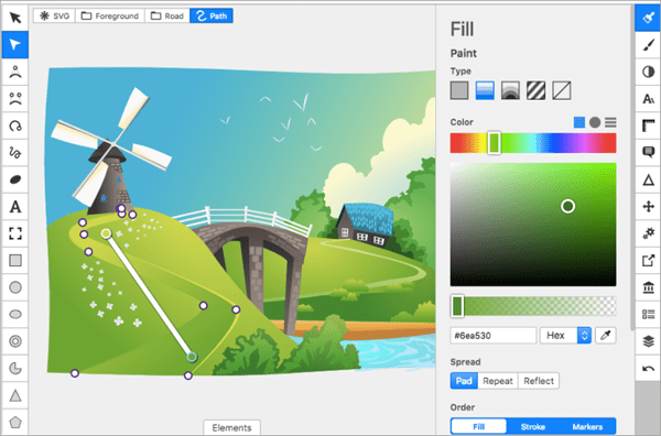BoxySVG is a browser-based vector software for editing scalable vector graphics