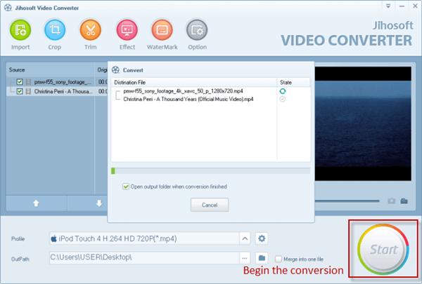 Pasos para convertir de MOV a MP4 usando Jihosoft Video Converter