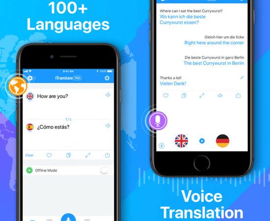 Itranslate ofrece a sus usuarios soporte de traducción lingüística para más de 90 idiomas con los métodos texto-a-texto y comando de voz, respectivamente.